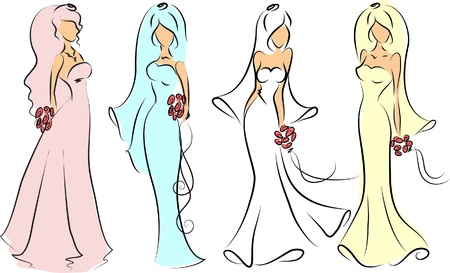 newlywed: Silhouette of brides for wedding invitation