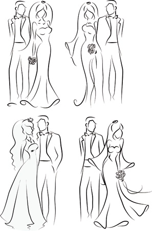 Silueta de la novia y el novio, fondo