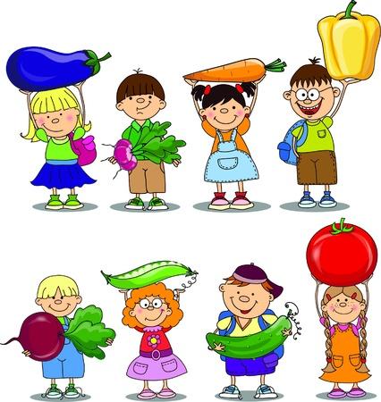 Niños de la historieta con verduras Vectores