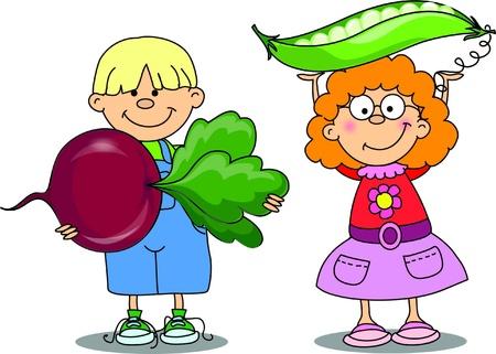 Cartoon children with vegetables Stock Vector - 18101847