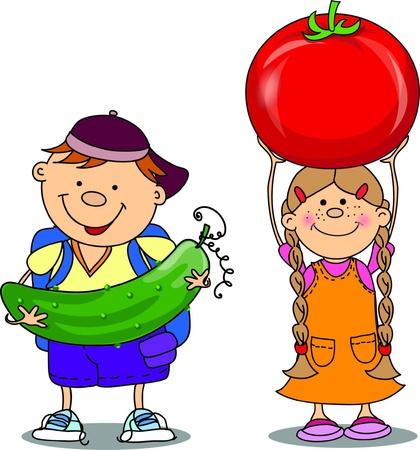 Cartoon children with vegetables Stock Vector - 18101856