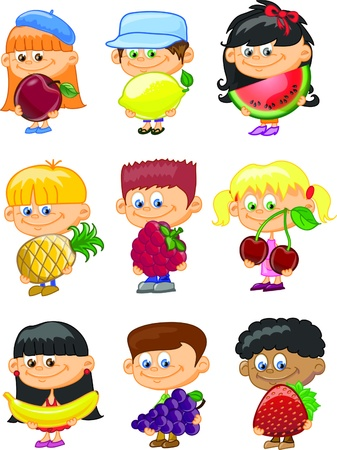 child food: Cartoon children with fruits  Illustration