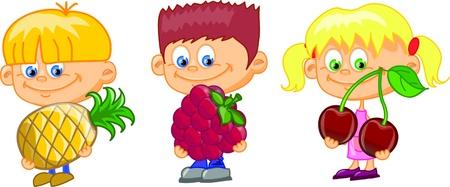 Cartoon children with fruits  Illustration