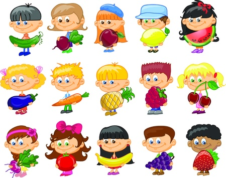 cartoon fruit: Cartoon children with fruits and vegetables