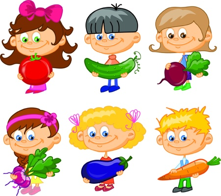 child food: Cartoon children with vegetables  Illustration