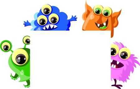 mutant: Cartoon cute monster with white background