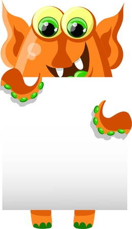 Cartoon cute monster with white background Stock Vector - 18117682