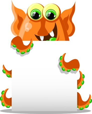 Cartoon cute monster with white background Stock Vector - 18117675