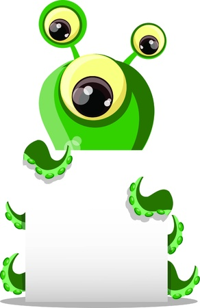 alien symbol: Cartoon cute monster with white background