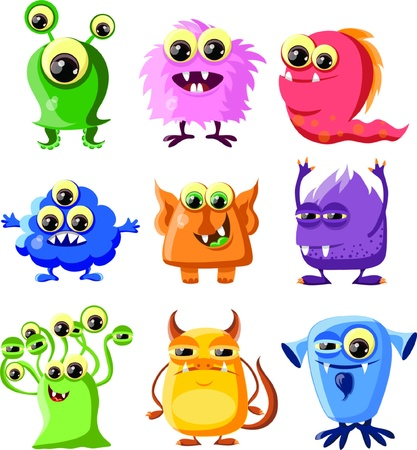 alien symbol: Cartoon cute monsters