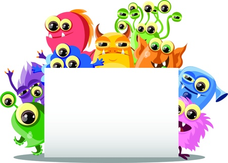 Cartoon cute monsters with banners Stock Vector - 18143975