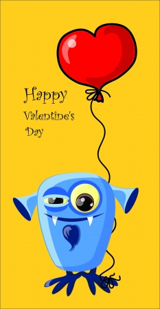 Valentine card with cute monster  Vector