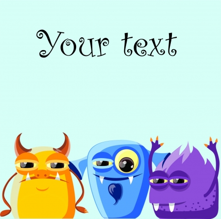 cartoon monster: Greeting card, background