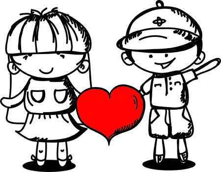 Valentine doodle boy and girl Vector