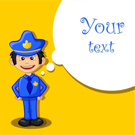 Cartoon policeman on a yellow background Vector