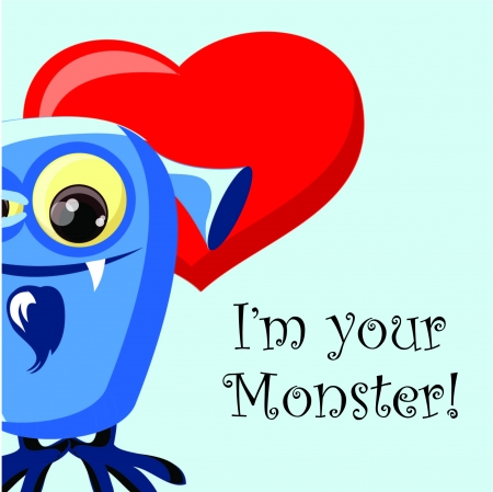 Valentine card with cute monster Stock Vector - 18542217