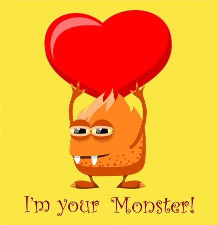 Valentine card with cute monster Stock Vector - 18542221
