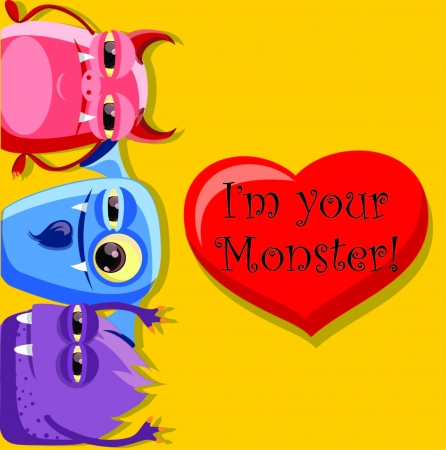 Valentine card with cute monster  Stock Vector - 18542245