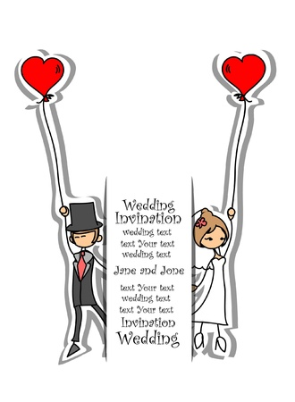 Cartoon wedding picture Stock Vector - 18542223
