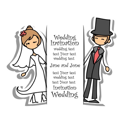 Cartoon wedding picture  Illustration