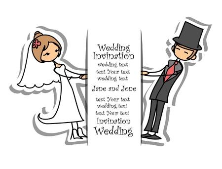 marry: Cartoon wedding picture  Illustration