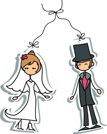 Cartoon wedding picture  Ilustrace