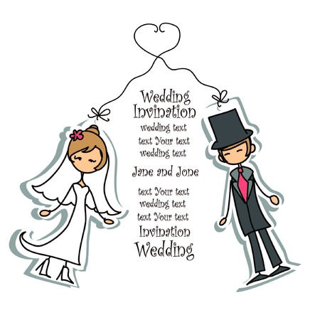 wed: Cartoon wedding picture  Illustration