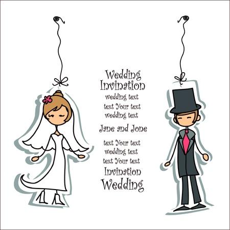 cartoon wedding couple: Cartoon wedding picture  Illustration