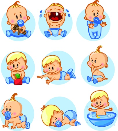 hysterical: illustration of baby boys