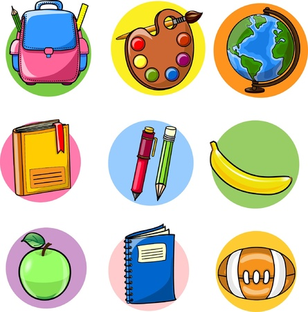 school kid: Back to school, school supplies  Illustration