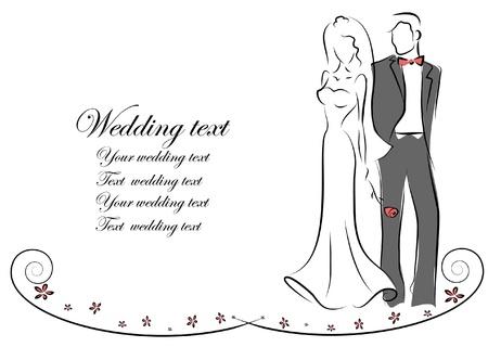 braut und bräutigam: Silhouette von Braut und Br�utigam, Hintergrund Illustration