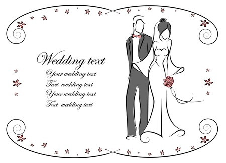 marry: Silhouette of bride and groom, background