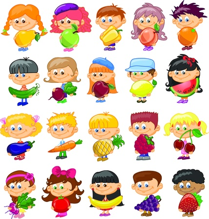 Cartoon children with fruits and vegetables  Vector