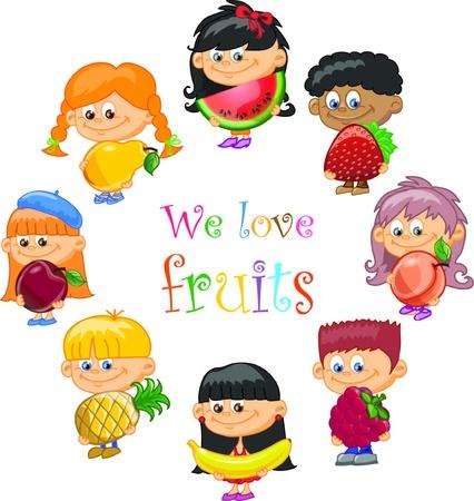 raspberry: Cartoon children with fruits  Illustration