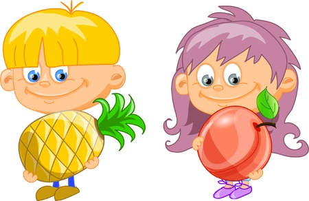 Cartoon children with fruits  Vector