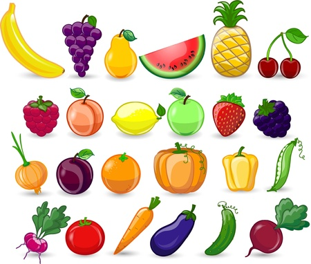 summer vegetable: Cartoon vegetables and fruits
