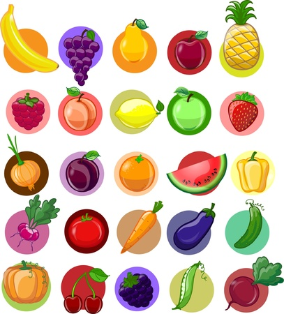 Cartoon vegetables and fruits  Stock Vector - 18757064