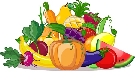 Cartoon vegetables and fruits  Stock Vector - 18757057