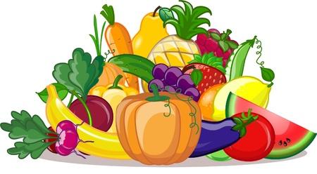 pepino caricatura: Cartoon verduras y frutas Vectores
