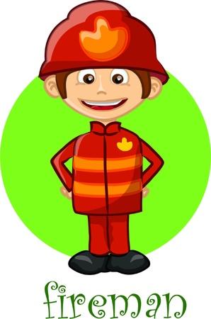 firefighter uniform: Cartoon fireman