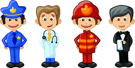 diferentes profesiones: Ilustraci�n vectorial de personas diferentes profesiones Vectores