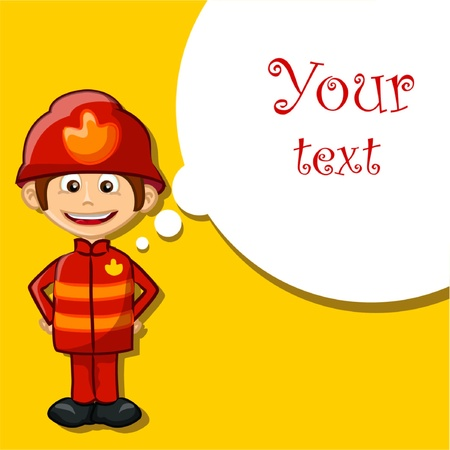 Cartoon fireman, vector background Vector
