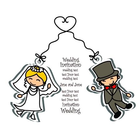 wedding couple: Cartoon wedding picture  Illustration