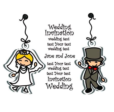 devotions: Cartoon wedding picture  Illustration