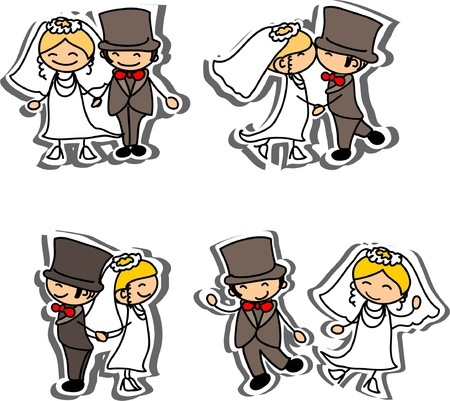 bride and groom: Cartoon wedding picture  Illustration