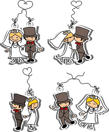 newlyweds: Cartoon wedding picture
