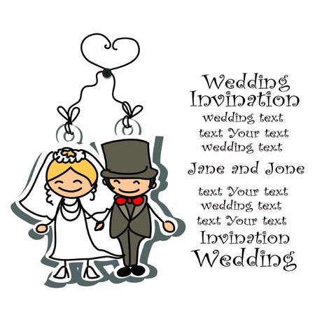 Cartoon wedding picture  Illustration