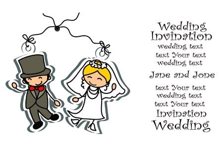 newlyweds: Cartoon wedding picture  Illustration