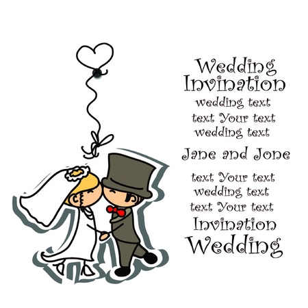 clip board: Cartoon wedding picture  Illustration