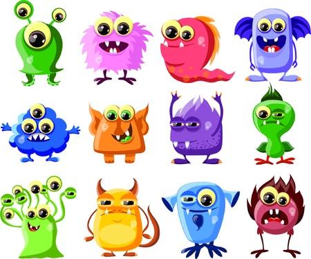 alien cool: Cartoon cute monsters